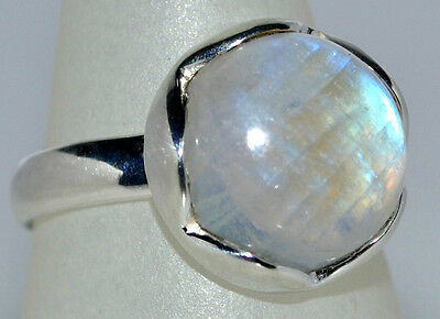 Mystic Moonstone Natural Gemstone Rings 925 Sterling Silver Ring All Sizes L - Z 8