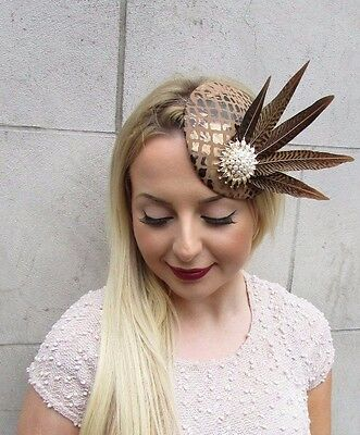 Brown Gold White Pheasant Feather Pillbox Hat Fascinator Hair Clip Races 2610 5