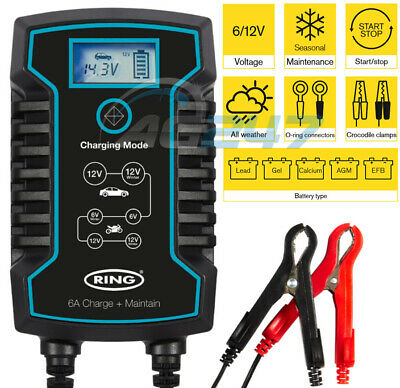 Ring RSC806 12v 6A Car Motorbikes Maintenance Start/Stop Smart Battery Charger 5