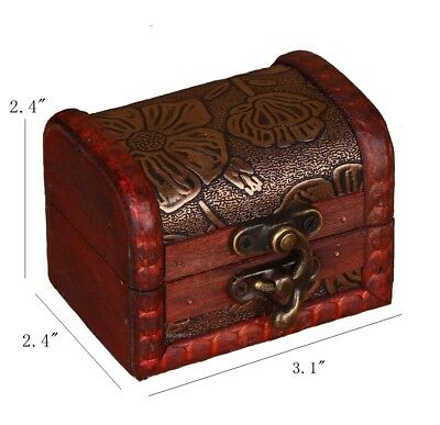 Handmade Small Wooden Box Wood Gift Jewelry Earrings Ring Container Vintage