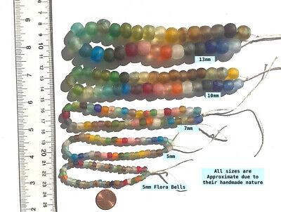 50 Beautiful Artisan Recycled Glass Sequins//Disc Fair Trade Beads Mixed Colors