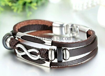 Love Infinity Symbol Charm Men's Women's Leather Bracelet Cuff Bangle Wristband 6
