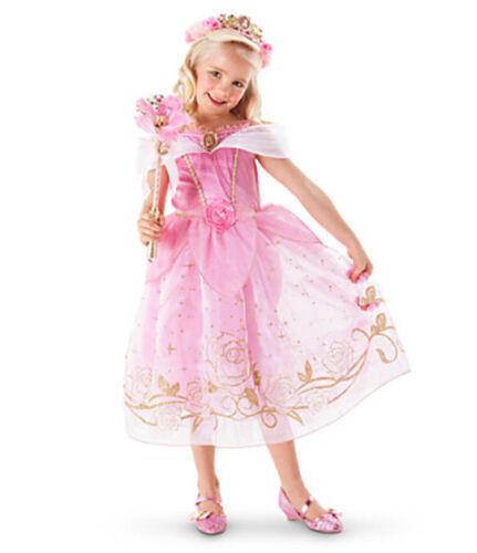 Mädchen Prinzessin Kostüm Kinder Aurora Rapunzel Cinderella Karneval Party Kleid 9
