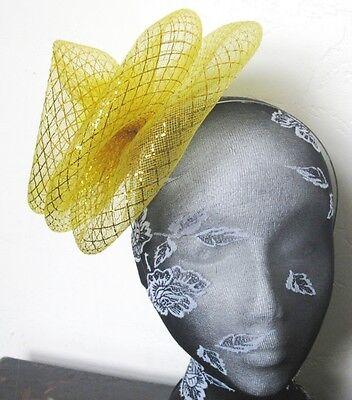 gold feather fascinator millinery burlesque headband wedding hat hair piece 1 2
