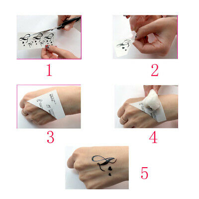 Temporary Tattoo Black Gothic Clock Fake Body Art Sticker Waterproof Mens Ladies 7