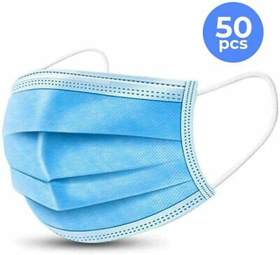 50 PCs Face Mask Medical Surgical Disposable 3-Ply Earloop Mouth Cover 2