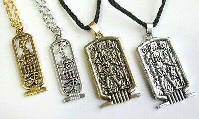 Cartouche Ancient Egyptian Pendant Necklace Ankh Egypt Anubis God Wicca Jewelry 5