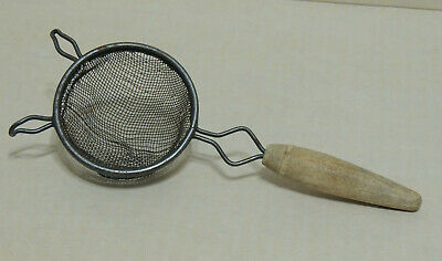 "VINTAGE POST 1935 Wire Mesh Strainer Handheld Metal Wood Handle 2 ¾"" Basket - $7.99 