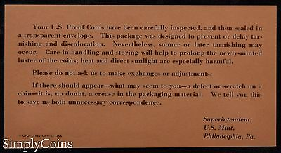 1964 Proof Set With COA ~ Flat Pack Original Envelope ~ US Silver Mint Coin Set