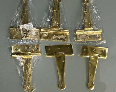"""6 POLISHED small hinges vintage aged style solid Brass DOOR BOX restoration 4"""" B 4"""