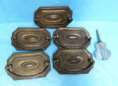 Vtg 5 Pc Drawer Pulls + 1 Knob Antique Home Hardware A1#22 2