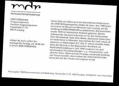 Heike Gotz Mdr Autogrammkarte Original Signiert Bc 27282 Eur 1 49 Picclick De