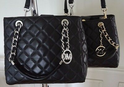 517ecc9c3d4e ... NWT Michael Kors Susannah Small North South Tote Quilted Leather Black   328+tax 2