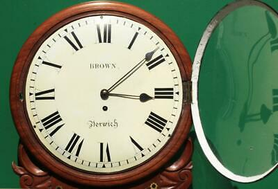 "Brown Of Norwich Antique English 8 Day Fusee Mahogany 12"" Drop Dial Wall Clock 7"