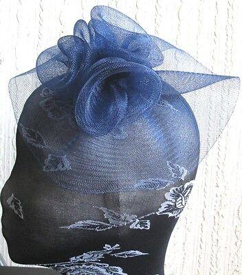 navy blue flower fascinator millinery  brooch clip wedding hat bridal ascot race 3