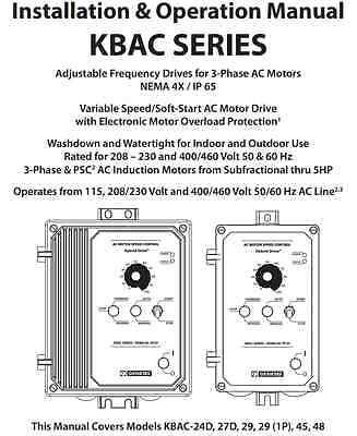 KB Electronics KBAC-29 10001 AC motor control 230v 1ph input 3HP 9A 230v 3ph out 3