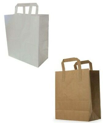 White Brown  Paper Carrier Bags with Flat Handles S,M,L 5 10 15 20 30 50 100 250 2