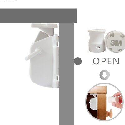 Safety concealed Magnetic Cabinet Locks-No Drilling-2 Locks+1 key 3