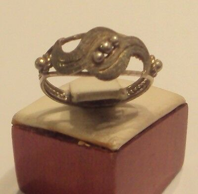 Excellent Early 20Th Century Silver Ring With Open-Work // 887 2
