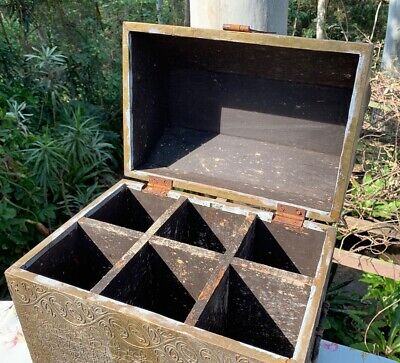 Antique Decorative Brass and Timber Wood Treasure Chest Trunk Wine Bottle Box 4
