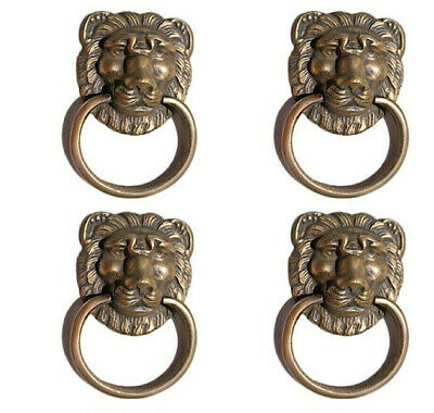 6 LION pulls handles Small heavy  SOLID BRASS old style bolt house antiques B 2