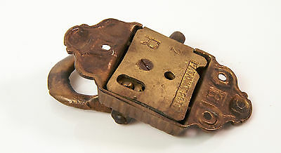 Vtg late 1800's ornate brass metal Icebox Metal Handle Latch 4