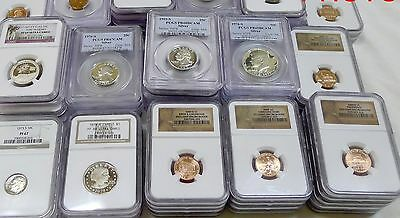 Gigantic 100 Coin Estate Lot! Ngc,pcgs,gold,silver,currency,rolls,antique,more! 2