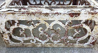 Old Vtg Antique Cast Iron Ornate White Chippy Paint Garden Cemetary Planter Urn 11