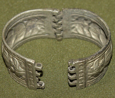 Antique Greek floral cuff hinged silver plated bracelet