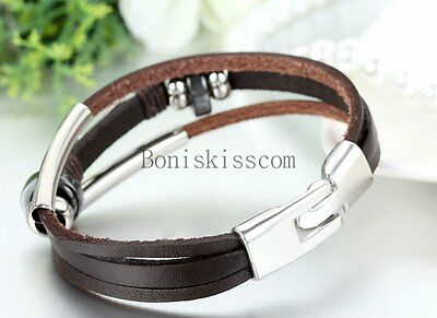 Love Infinity Symbol Charm Men's Women's Leather Bracelet Cuff Bangle Wristband 7