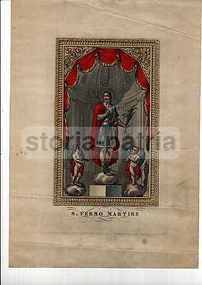 Arte_Antica Stampa Popolare Devozionale_San Fermo Martire_Decorativa Incisione