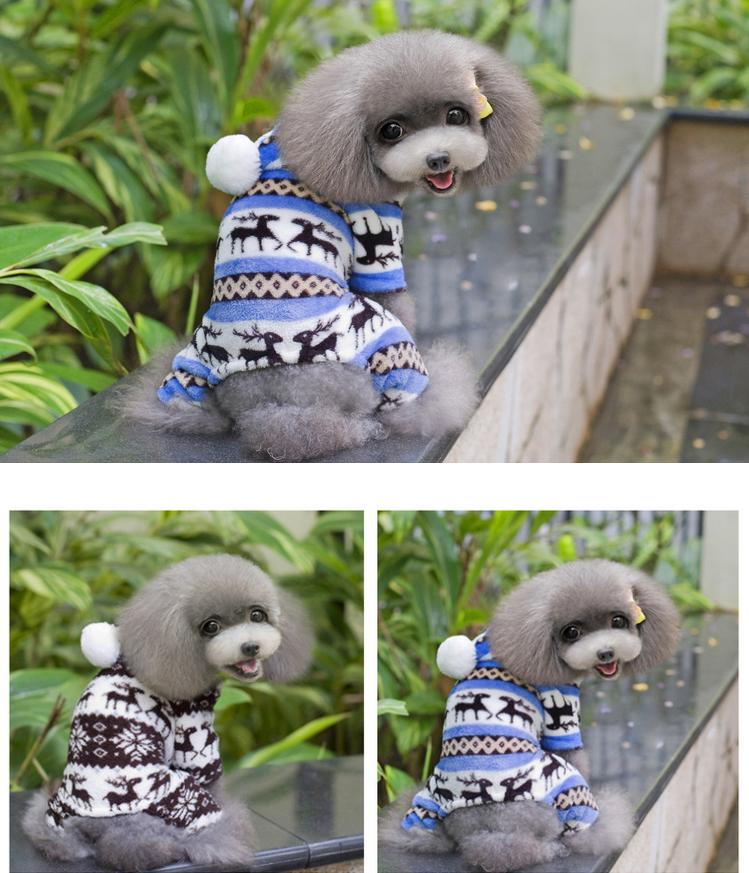 Dog Warm Winter Hoodie Jumpsuit Soft Coat Clothes Pet Puppy Sweater Elk Pajamas