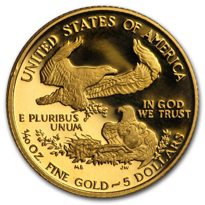 1990-P $5 1/10oz Gold American Eagle Gem PROOF PF UNC Uncirculated Gold Coin @