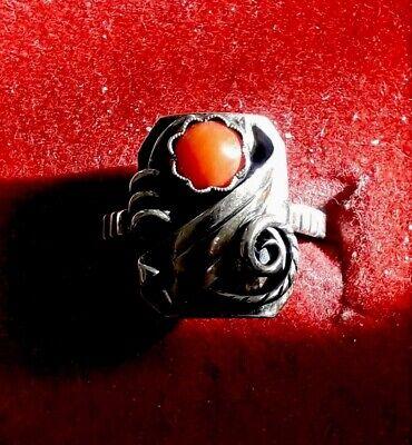 Hübscher Antiker handgearbeiteter 835er Silber Ring mit Koralle (j4) 4