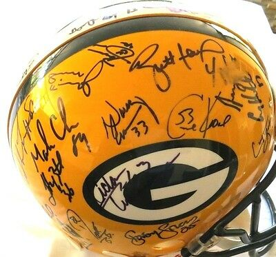 huge discount 61b9b fb43b PACKERS SB XXXI Reggie White Brett Favre Team Signed Autograph Football  Helmet