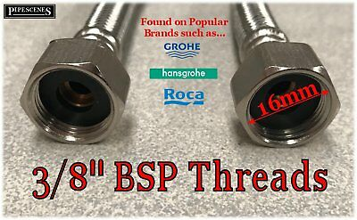 """300mm Long 12mm / M12 x 3/8"""" Flexible Tap Tails for some Grohe, Hansgrohe & Roca 2"""