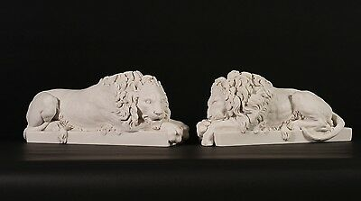 Chatsworth Lions (Pair), Carrara Marble Classical Sculptures. 5