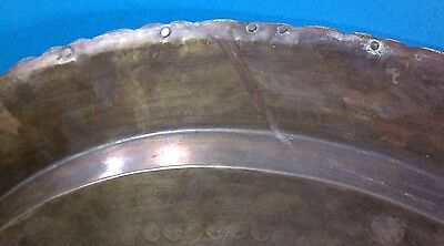 """Vintage Chinese Hand Carved Brass 29"""" Rimmed Oval Table Tray/Top 8"""