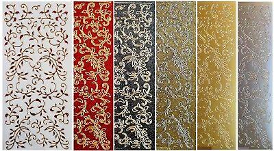 LEAF FLOURISH Peel Off Stickers Borders Demask Red Black Gold Silver Glitter 2