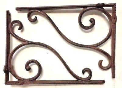 SET OF 2 LARGE RUSTIC  BROWN SCROLL BRACE/BRACKET vintage looking patina finish 2