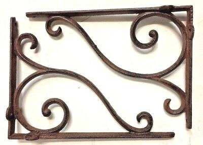 SET OF 4 LARGE RUSTIC  BROWN SCROLL BRACE/BRACKET vintage looking patina finish 5
