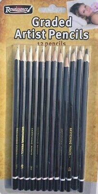 12 Graded Pencils Drawing Sketching Tones Shades Art Artist Picture Pencil Draw. 5