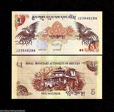 Bhutan 5 Ngultrum P28 2015 X 100 Pcs Lot Bundle Dzong Dragon Unc Money Banknote 2