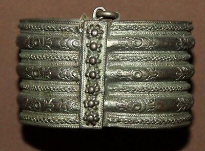 Antique Greek Folk ornate floral Silver Hinged Bracelet 12