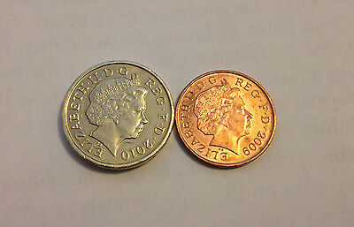 POUND AND PENNY [ £1/1p Coin Unique ] Vanishing Penny Close Up Magic Coin  Trick