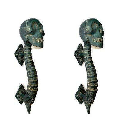 2 Small SKULL handle DOOR PULL aged GREEN patina solid BRASS old style 21cm B 5