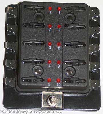 Sicherungsdose mit Ausfallled 10-Fach KFZ//Wohnwagen//Boot LED,Sicherungshalter