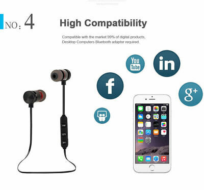 Bluetooth Headphones Magnetic Wireless Stereo Earphones for iPhone Samsung HTC 12