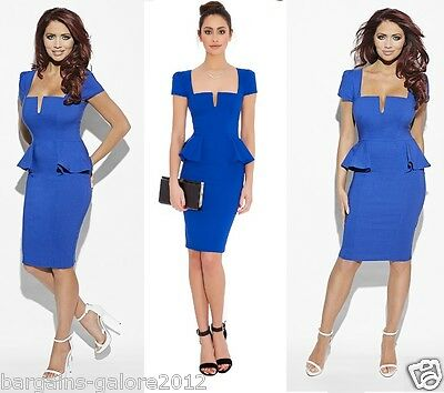 PEPLUM STYLE BODYCON DRESS IN  CORAL TOWIE SIZES 8-14