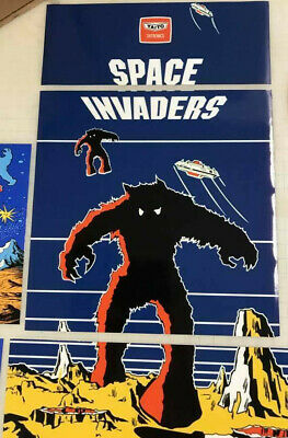 Arcade1up Cabinet Riser Graphics - Space Invaders Graphic Sticker Decal Set 8